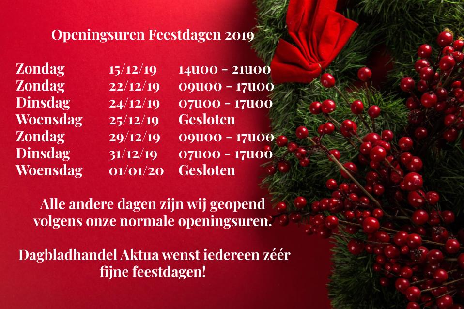 Openingsuren Feestdagen 2019